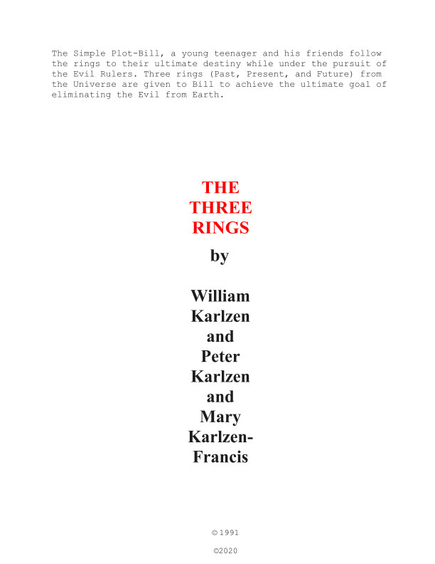 Ver The Three Rings (Past, Present, and Future) por Peter Bill Mary Karlzen